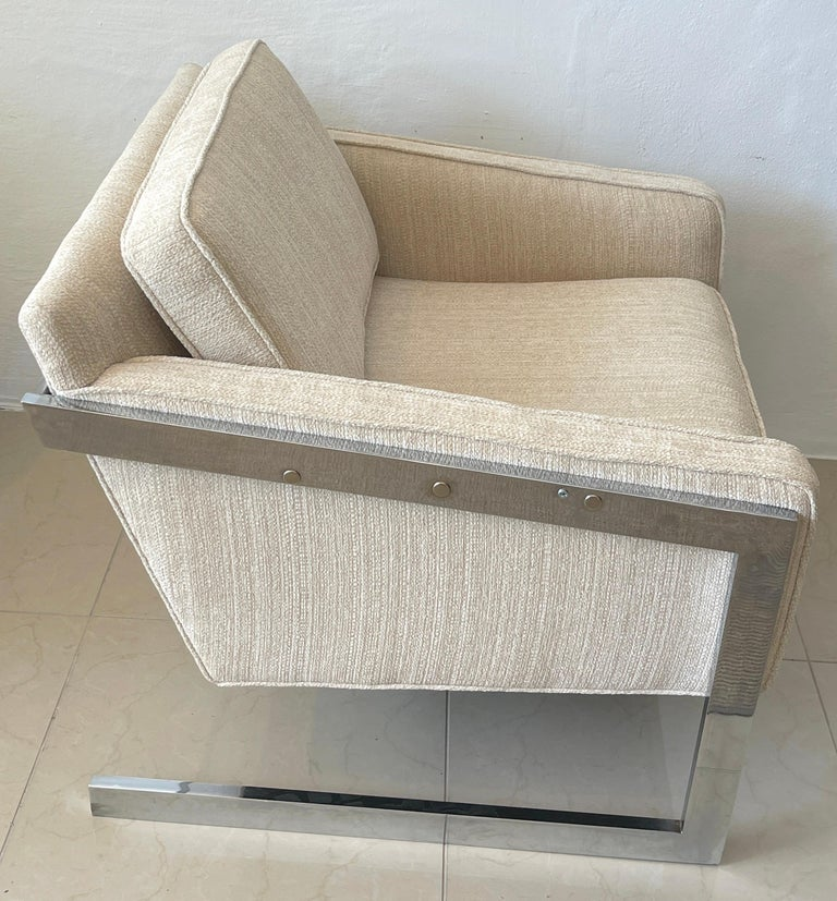 Upholstery Pair of 1970s Chrome Cantilever Club Chairs, Newly Upholstered For Sale