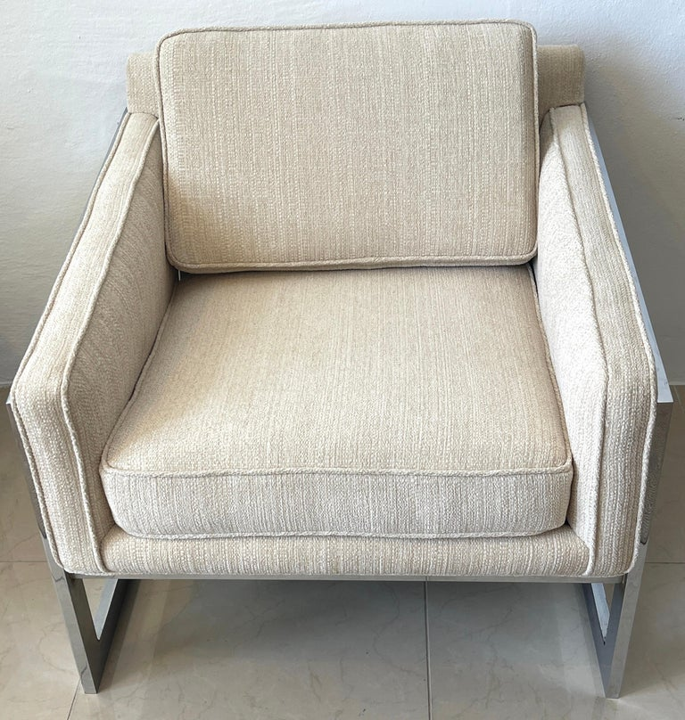 Pair of 1970s Chrome Cantilever Club Chairs, Newly Upholstered For Sale 1