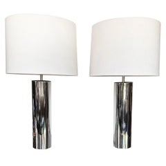 Pair of 1970s Chrome Cylinder Table Lamps Attributed to George Kovacs