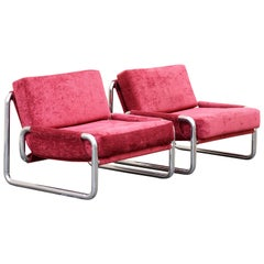 Pair of 1970s Chrome Lounge Chairs