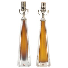 Pair of 1970's Cognac Colored Glass Lamps by Vicke Lindstrand, Kosta