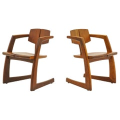 Pair of 1970s Craftsman Solid Walnut Lounge Chairs, Stunning