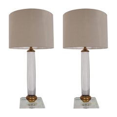 Pair of 1970s Cylindrical Italian Lucite And Brass Square Base Table Lamps