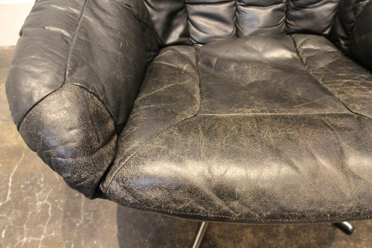 Pair of 1970s Danish Leather Lounge Chairs and Ottoman by H.W. Klein for Bramin For Sale 2