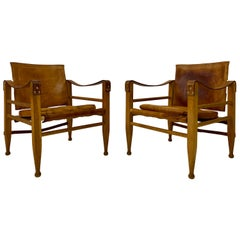 Pair of 1970s Danish Safari Chairs in Oak and Leather