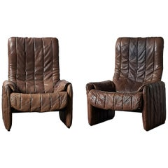 Pair of 1970s De Sede Patchwork Buffalo Leather Reclining Lounge Chairs DS-50