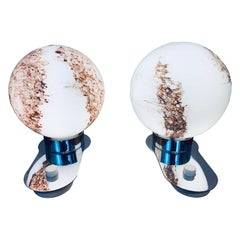 Pair of 1970s Doria Leuchten Glass Brown & White Globe and Chrome Table Lamps