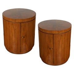 Pair of 1970s Drexel Heritage Drum Nightstands/End Tables