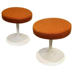 Pair of 1970s Eero Saarinen for Knoll Tulip Stools Orange Fabric