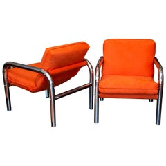 Pair of 1970s Era Tubular Chrome Sling Chairs