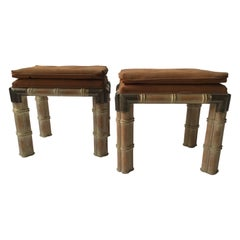 Pair of 1970s Faux Bamboo Wood Ottomans