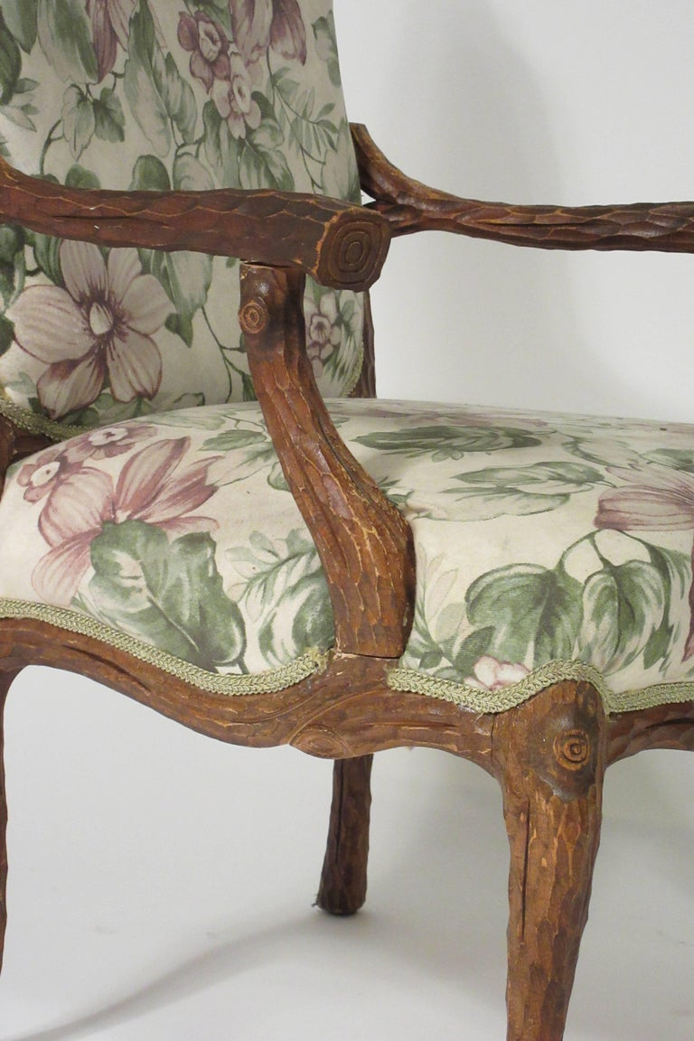 Pair of 1970s Faux Bois Armchairs For Sale 3