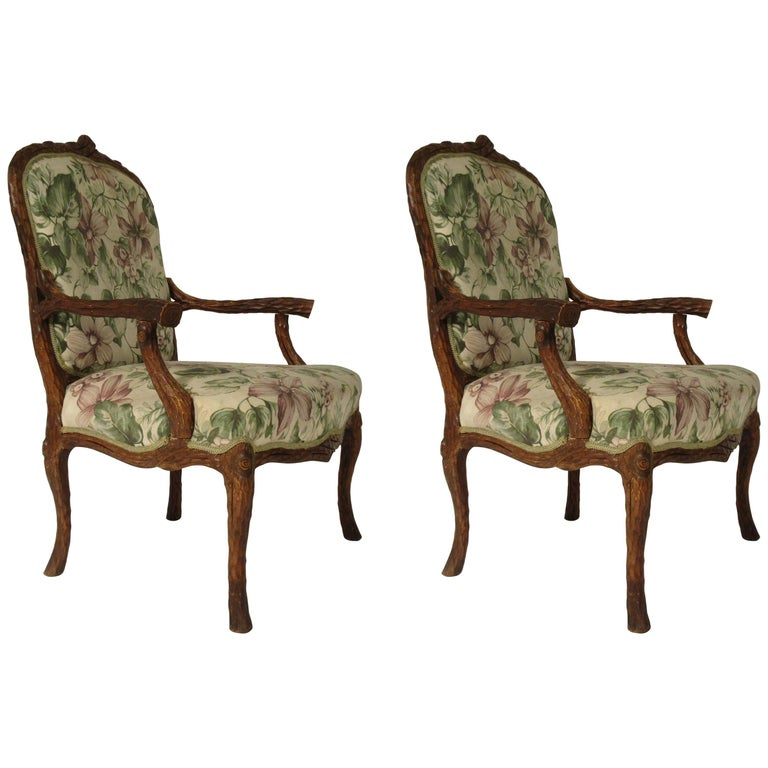 Pair of 1970s Faux Bois Armchairs For Sale