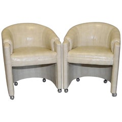 Pair of 1970s Faux Snakeskin Rolling Club Chairs