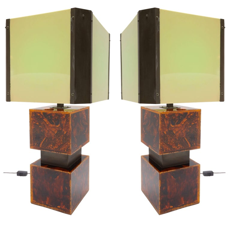Pair of 1970s French Acrylic Table Lamps