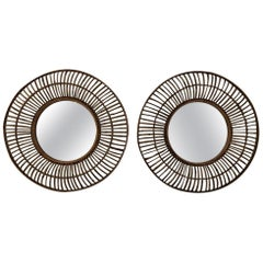 Pair of 1970s French Bamboo Mirrors