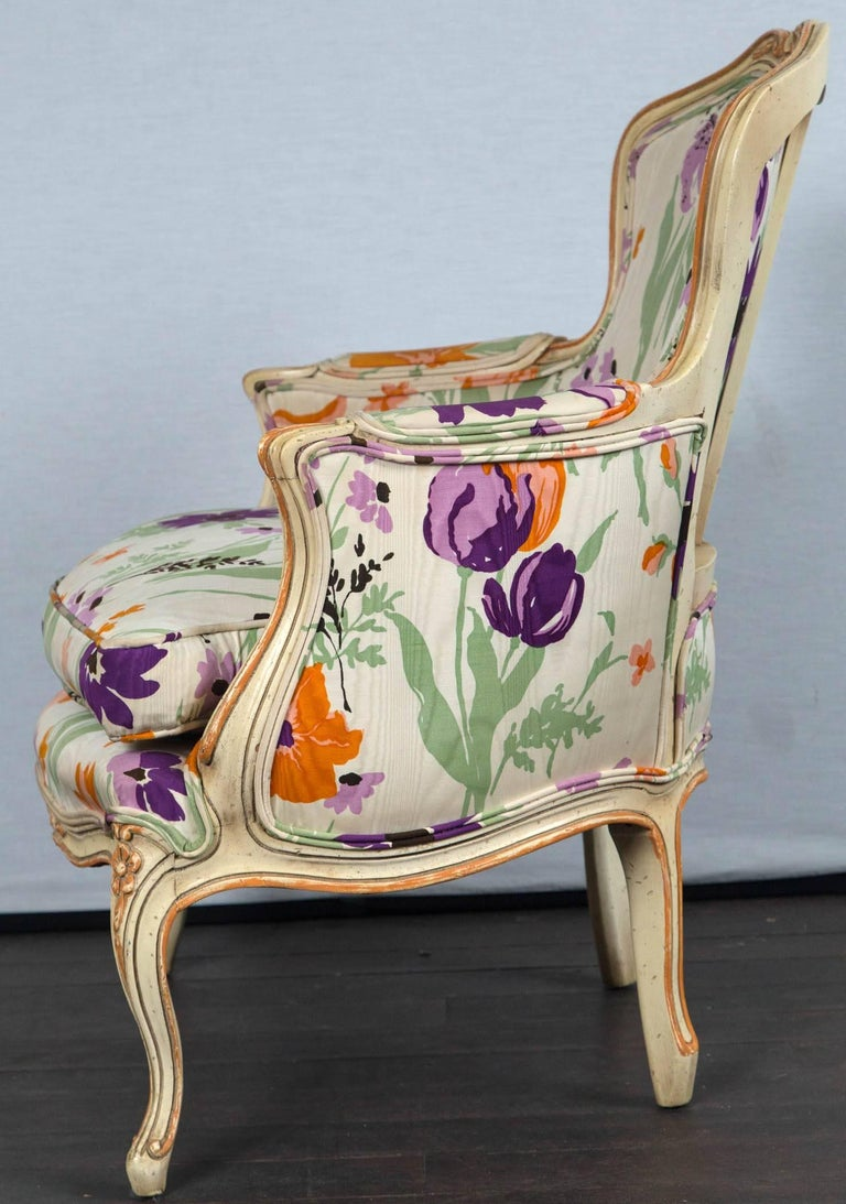 Late 20th Century Pair of 1970s French Bergere with Woodson Style Fabric For Sale