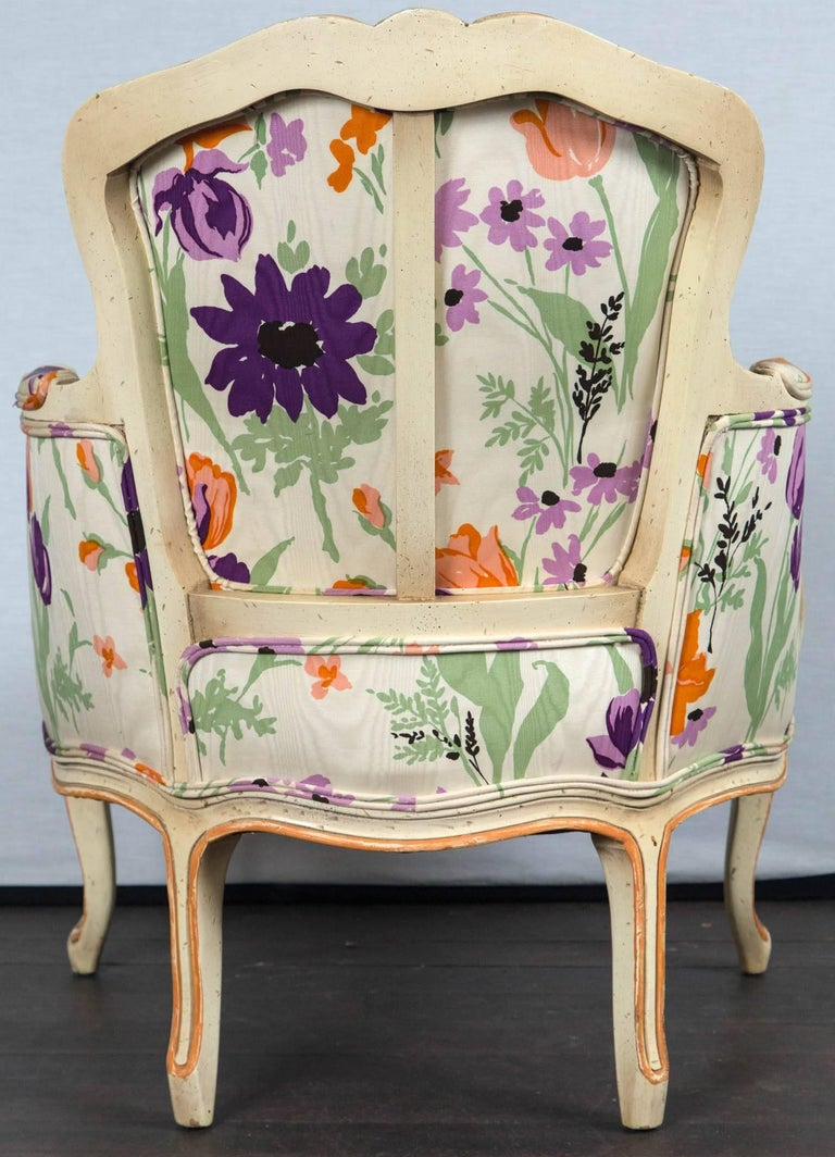 Pair of 1970s French Bergere with Woodson Style Fabric For Sale 4