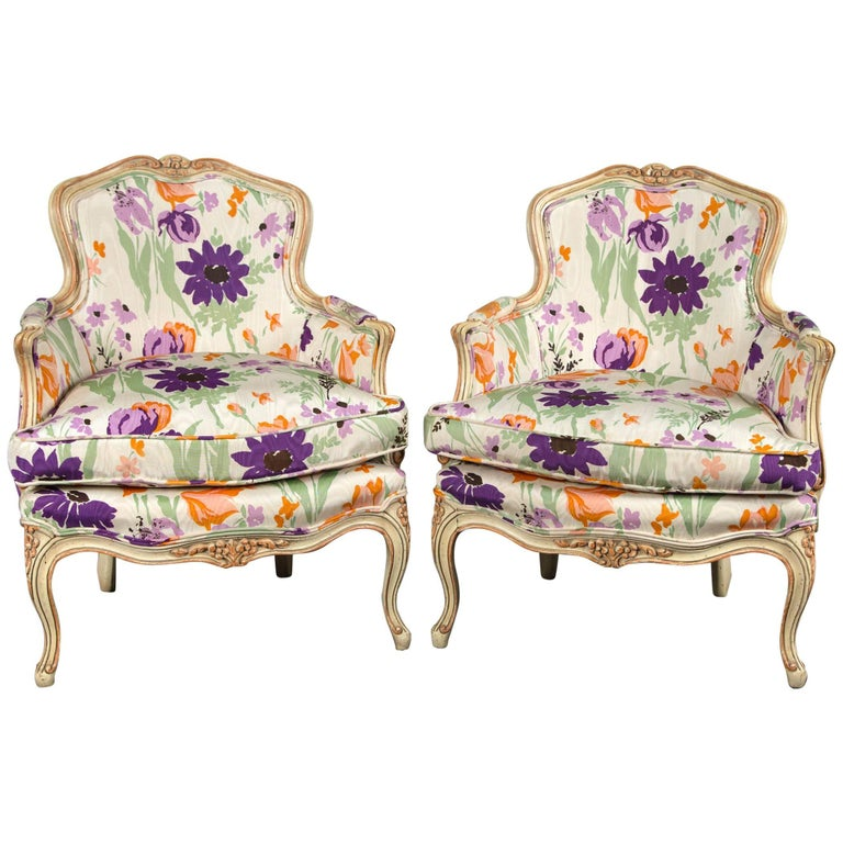 Pair of 1970s French Bergere with Woodson Style Fabric For Sale