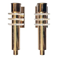 Pair of 1970s French Brass and Lucite Wall Lamps Sconces