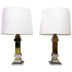 Pair of 1970s French Chrome and Brass Table Lamps with White Shades