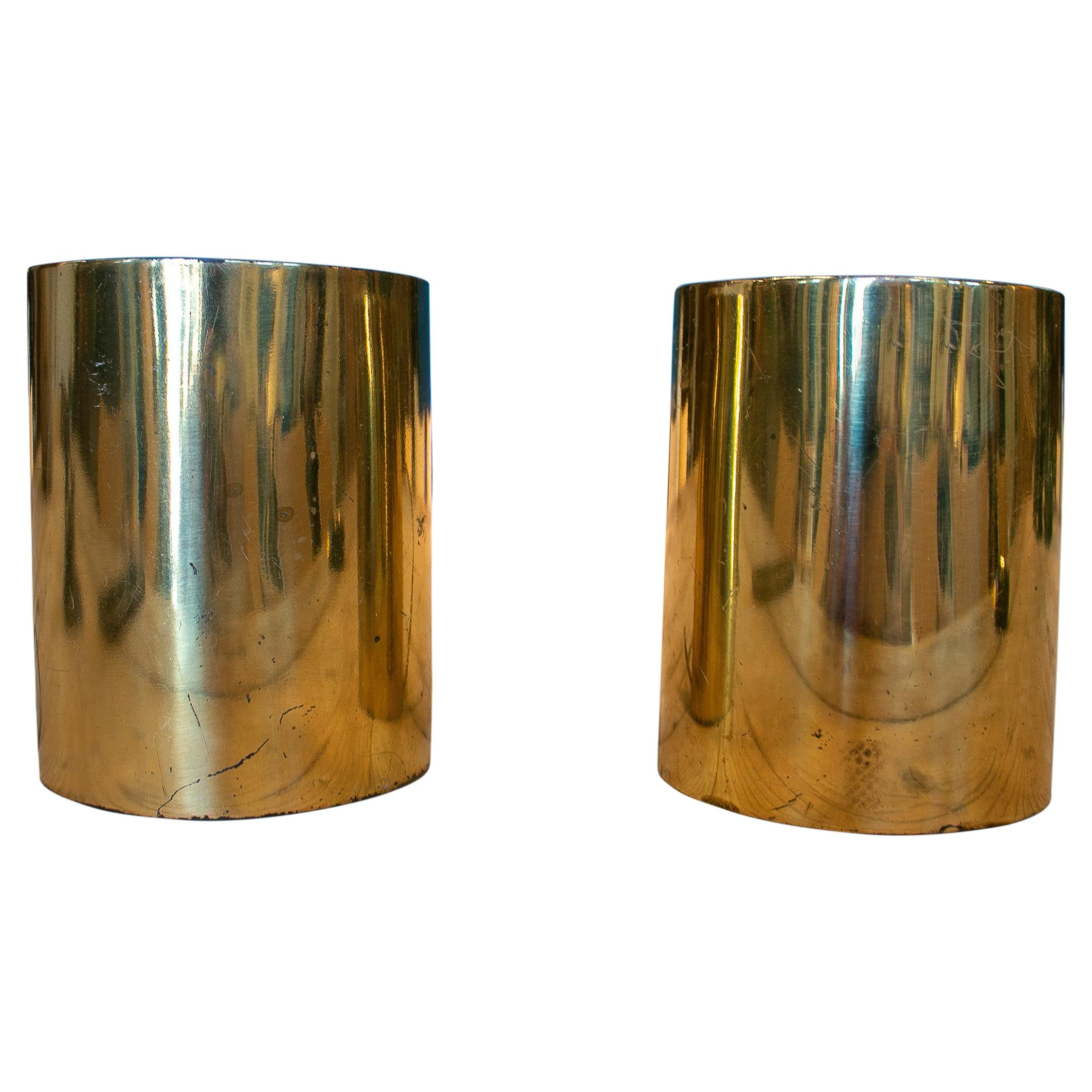 Pair of 1970s French Designer Gilt Bronze Sconce Wall Lamps w/ Shades
