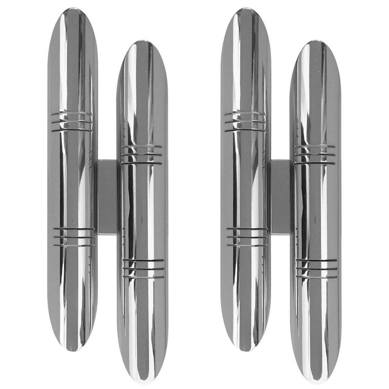 Pair of 1970s French Tubular Chrome Wall Sconces For Sale