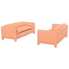 Pair of 1970s Fully Upholstered Sofas by John Mascheroni for Swaim