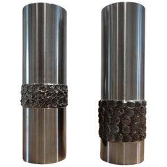 Pair of 1970s German Metal Brutalist Stainless Steel Handcrafted Vases B