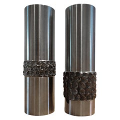 Pair of 1970s German Metal Brutalist Stainless Steel Handcrafted Vases B