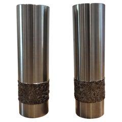 Pair of 1970s German Metal Brutalist Stainless Steel Metal Handcrafted Vases