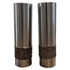 Pair of 1970s German Metal Brutalist Stainless Steel Metal Handcrafted Vases