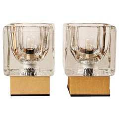 Pair of 1970s German Peill & Putzler Glass Cube Table Lamps