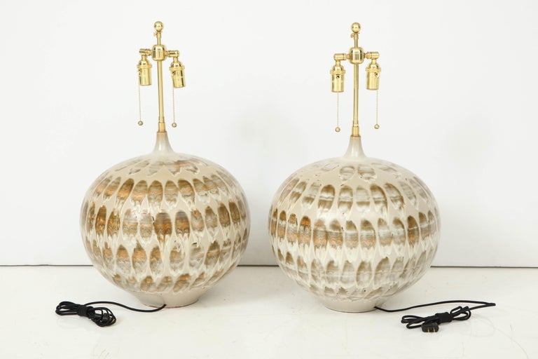 Pair of 1970s Giant Ceramic Lamps For Sale 6