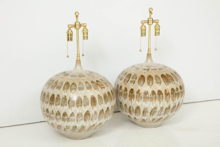 Italian Pair of 1970s Giant Ceramic Lamps For Sale