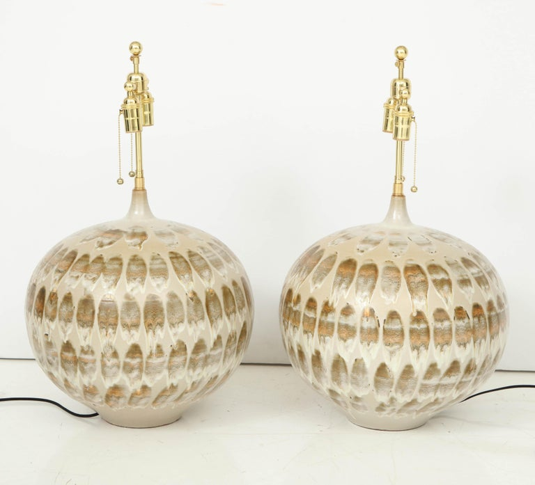 Late 20th Century Pair of 1970s Giant Ceramic Lamps For Sale