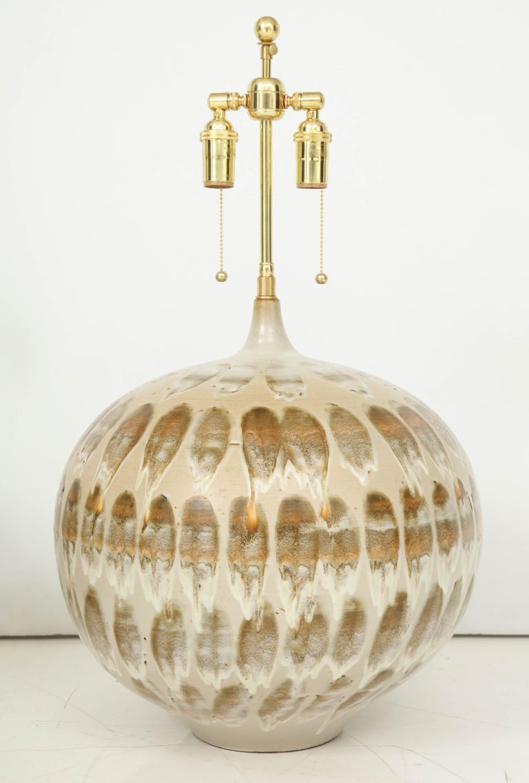 Pair of 1970s Giant Ceramic Lamps For Sale 1
