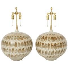 Pair of 1970s Giant Ceramic Lamps