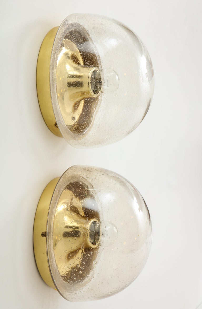 Pair of 1970s Murano glass dome sconces by Limburg.