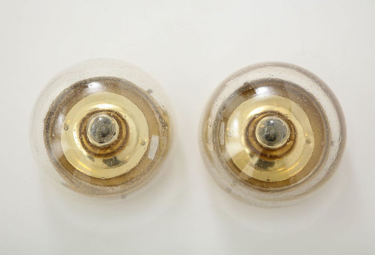 Mid-Century Modern Pair of 1970s Glass Dome Sconces by Limburg For Sale