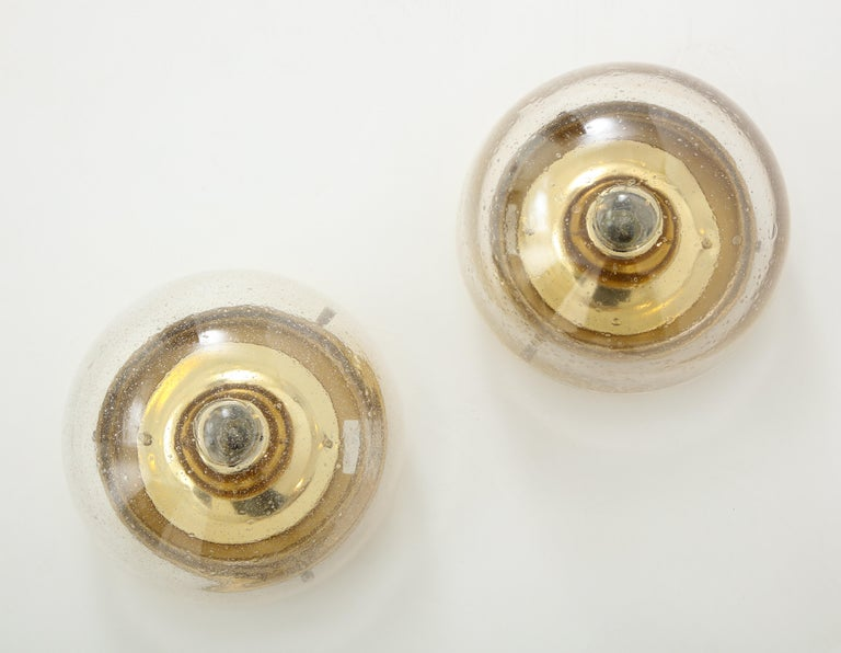 German Pair of 1970s Glass Dome Sconces by Limburg For Sale