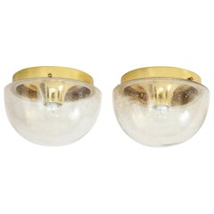 Pair of 1970s Glass Dome Sconces by Limburg