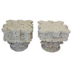 Pair of 1970s Hand Carved Limestone Corinthian Capitals as Side Tables