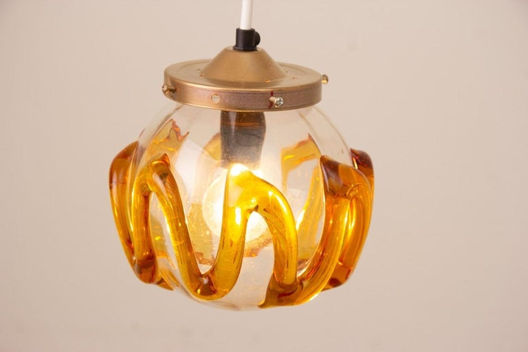 Blown Glass Pair of 1970s Hanging Lamps For Sale