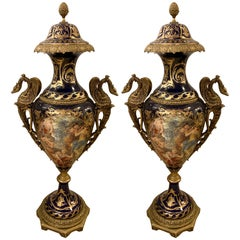 Pair of 1970s High Blue Sèvres Style Vases