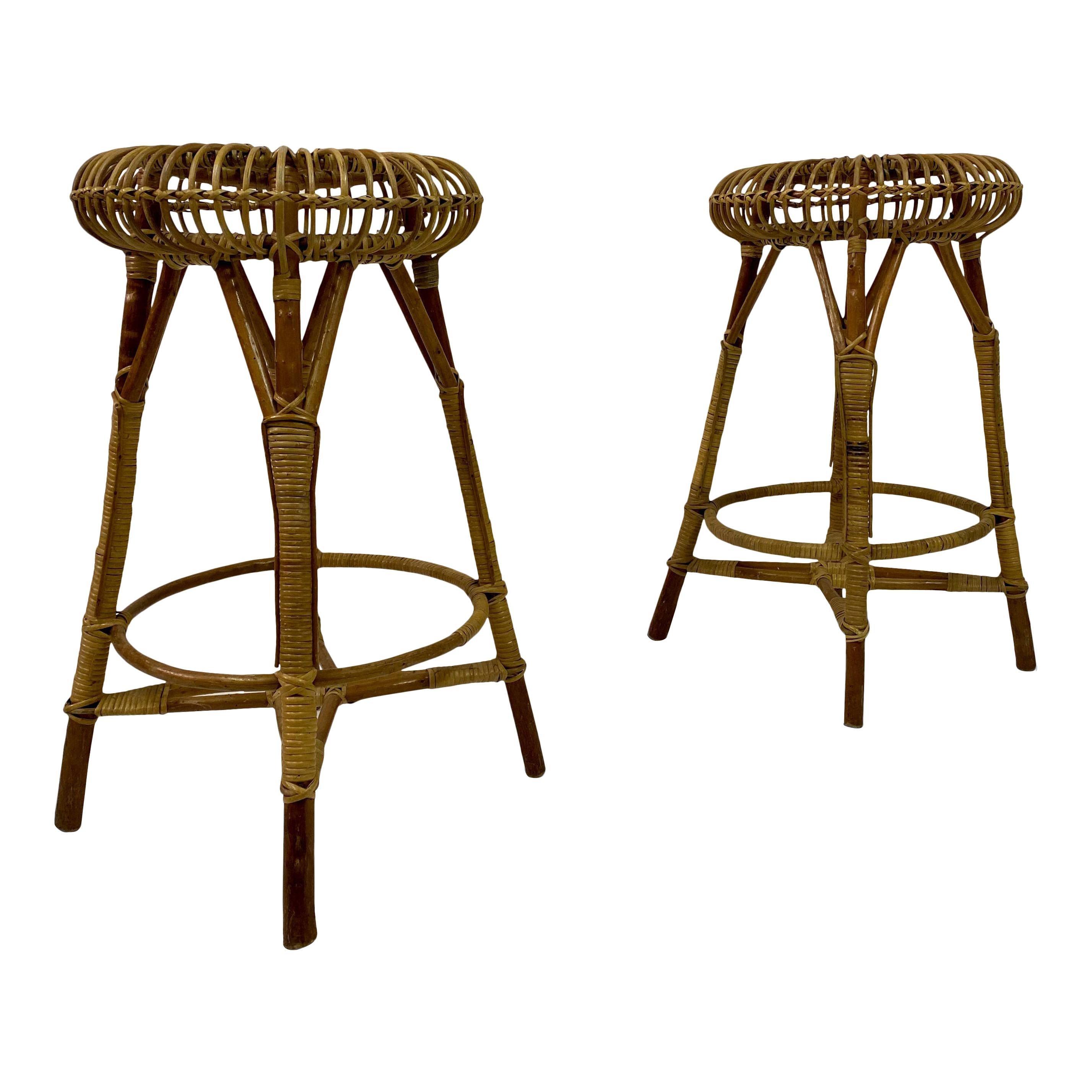 Pair of 1970s Italian Bamboo and Wicker Bars Stools