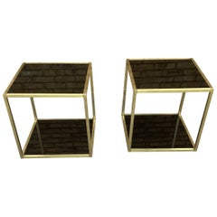 Pair of 1970's Italian Brass and Glass Display Table