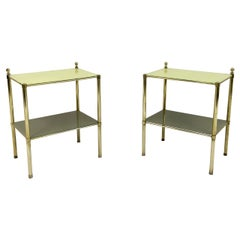 Pair of 1970s Italian Brass Side Tables with Yellow Glass