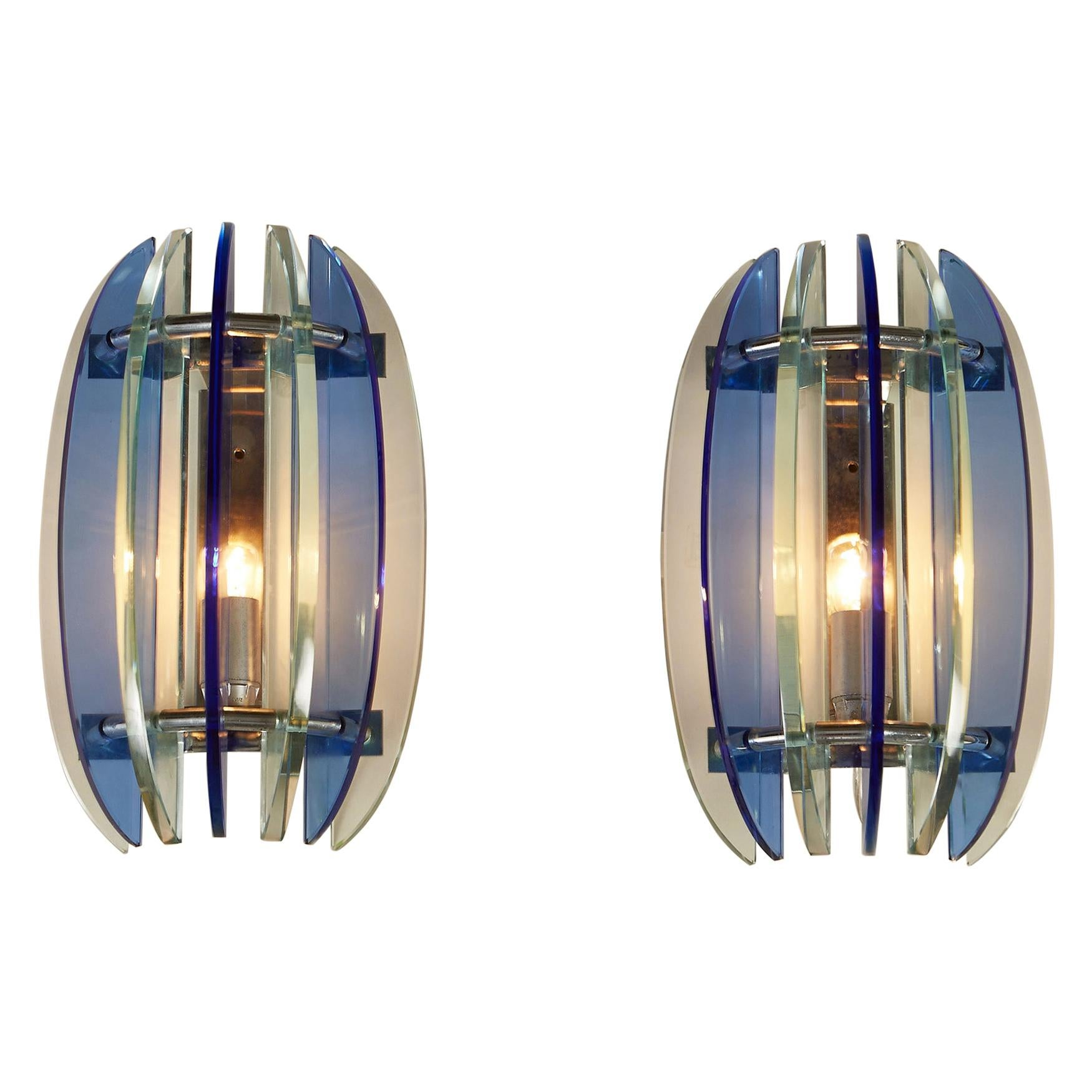 Pair of 1970s Italian Chrome and Blue and Greenglass Wall Lights by Veca