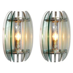 Pair of 1970s Italian Chrome and Glass Wall Lights by Veca